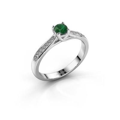Foto van Verlovingsring Mia 2 585 witgoud smaragd 4.2 mm