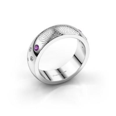 Ring Minke 375 witgoud amethist 2 mm