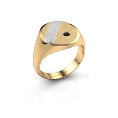 Foto van Zegelring Wesley 5 585 goud zwarte diamant 0.072 crt