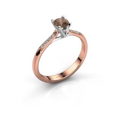 Aanzoeksring Isa 2 375 rosé goud bruine diamant 0.30 crt