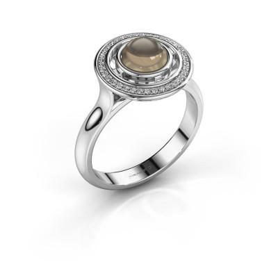 Ring Salima 950 platina rookkwarts 6 mm