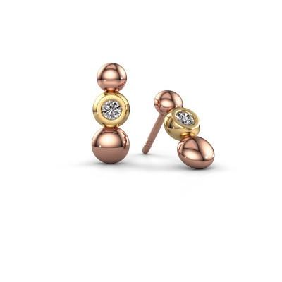 Foto van Oorbellen Lily 585 rosé goud diamant 0.12 crt