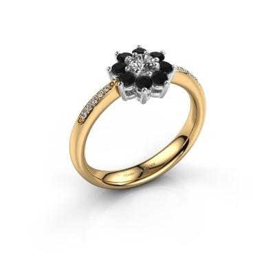 Verlovingsring Camille 2 585 goud zwarte diamant 0.18 crt