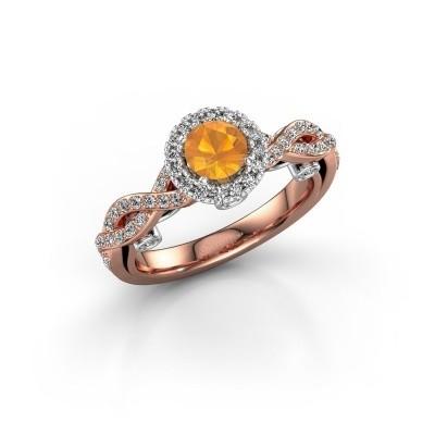 Verlovingsring Madeleine 585 rosé goud citrien 5 mm