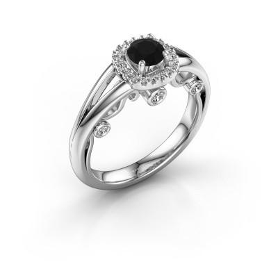 Foto van Verlovingsring Carina 585 witgoud zwarte diamant 0.69 crt