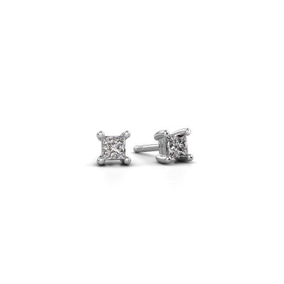 Stud earrings Sam square 585 white gold diamond 0.40 crt