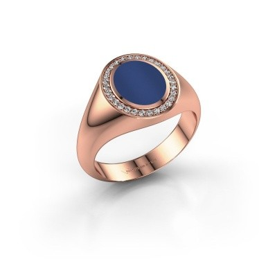 Foto van Pinkring Adam 1 375 rosé goud lapis lazuli 10x8 mm
