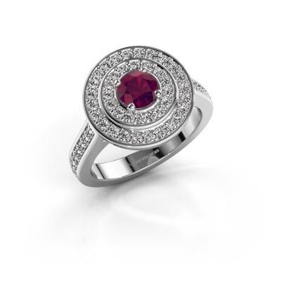 Ring Alecia 2 585 witgoud rhodoliet 5 mm