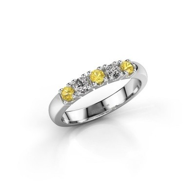 Engagement ring Rianne 5 585 white gold yellow sapphire 2.7 mm