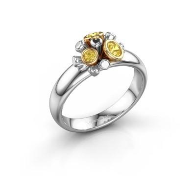 Ring Pameila 585 witgoud gele saffier 2 mm