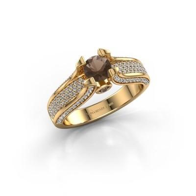 Verlovingsring Jeanne 2 375 goud rookkwarts 5 mm
