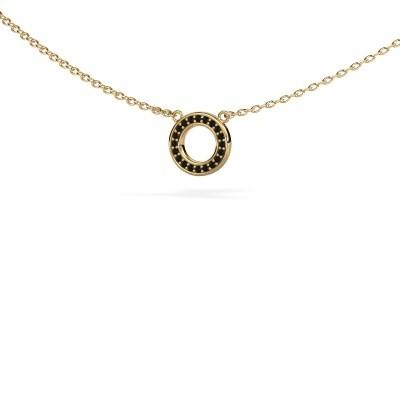 Hanger Round 2 375 goud zwarte diamant 0.06 crt