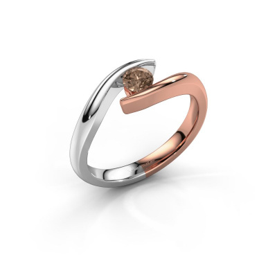 Foto van Aanzoeksring Alaina 585 rosé goud bruine diamant 0.25 crt