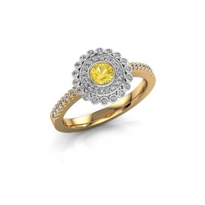 Verlovingsring Shanelle 585 goud gele saffier 4 mm