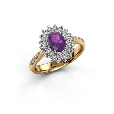 Engagement ring Alina 2 585 gold amethyst 7x5 mm