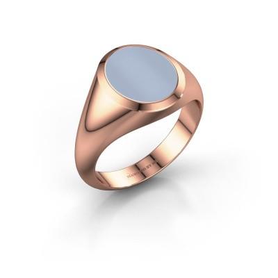 Zegelring Evon 2 375 rosé goud licht blauwe lagensteen 12x10 mm