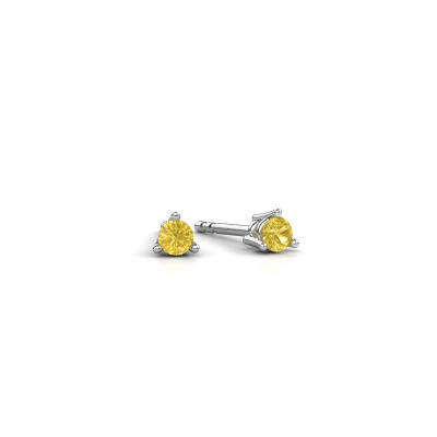 Picture of Stud earrings Somer 950 platinum yellow sapphire 3 mm