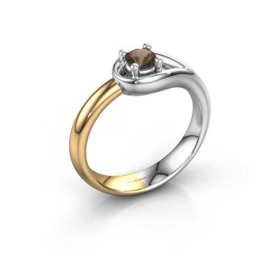 Ring Fabienne 585 white gold smokey quartz 4 mm