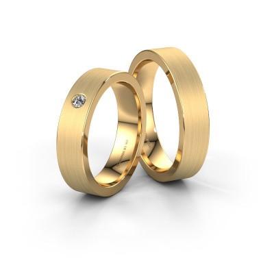 Trouwringen set WH0101LM15BM ±5x2 mm 14 karaat goud diamant 0.08 crt