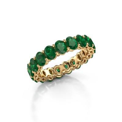 Aanschuifring Heddy OVL 3.5x4.5 375 goud smaragd 4.5x3.5 mm