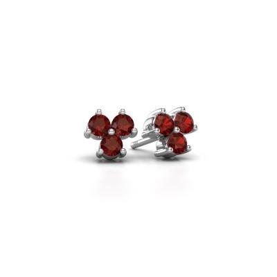 Picture of Stud earrings Shirlee 925 silver garnet 3 mm