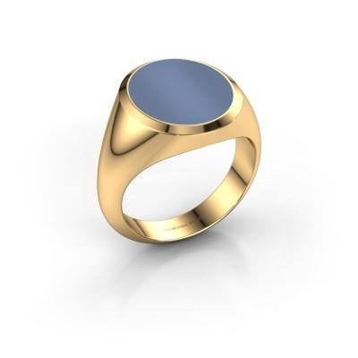 Zegelring Herman 5 585 goud licht blauwe lagensteen 15x13 mm