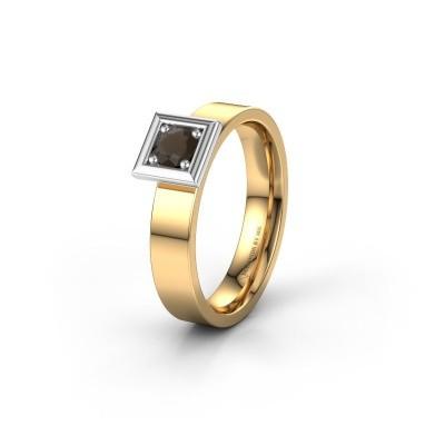 Trouwring WH2112L14A 585 goud rookkwarts ±4x1.7 mm