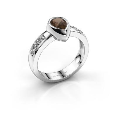 Ring Charlotte Pear 585 white gold smokey quartz 8x5 mm