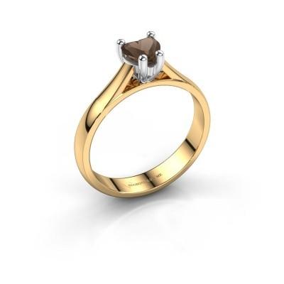 Verlobungsring Sam Heart 585 Gold Rauchquarz 5 mm