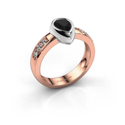 Ring Charlotte Pear 585 rose gold black diamond 1.08 crt
