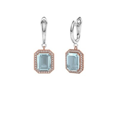 Drop earrings Dodie 1 585 rose gold aquamarine 9x7 mm