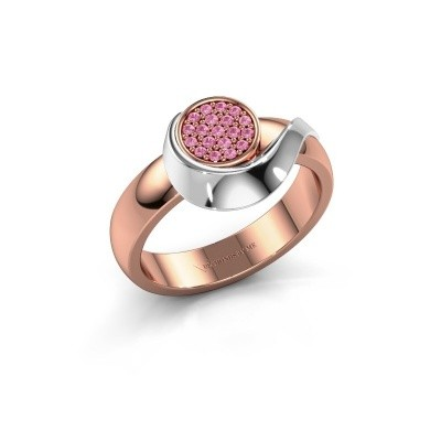 Ring Kimber 585 rosé goud roze saffier 1 mm