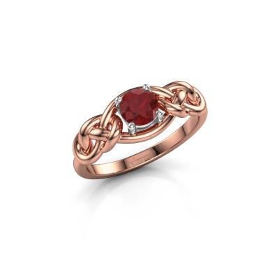 Foto van Ring Zoe 585 rosé goud robijn 5 mm
