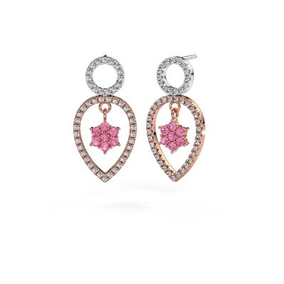 Picture of Drop earrings Lauralee 2 585 rose gold pink sapphire 2 mm