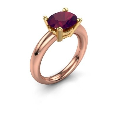 Foto van Ring Janiece 585 rosé goud rhodoliet 10x8 mm