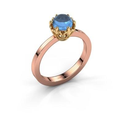Ring Marly 585 rosé goud blauw topaas 6 mm