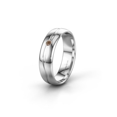 Foto van Trouwring WH0905L35X 950 platina bruine diamant ±5x1.7 mm
