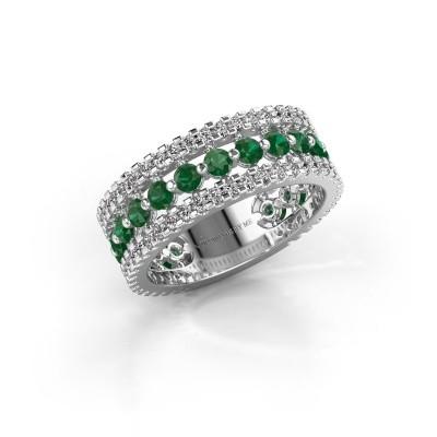 Verlovingsring Elizbeth 2 585 witgoud smaragd 2.4 mm