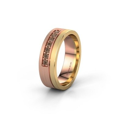 Trouwring WH0312L16AM 585 rosé goud bruine diamant ±6x1.7 mm