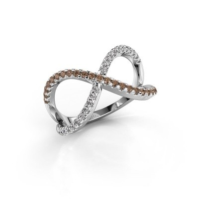 Ring Alycia 2 585 white gold brown diamond 0.45 crt