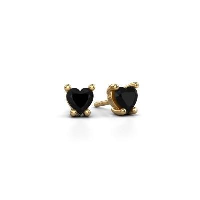 Foto van Oorbellen Sam Heart 375 goud zwarte diamant 0.60 crt