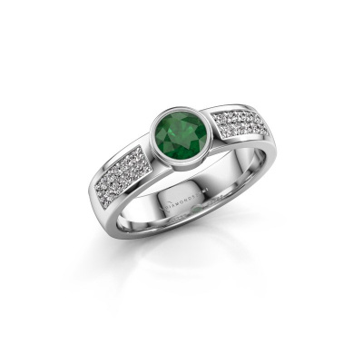 Engagement ring Ise 3 585 white gold emerald 4.7 mm