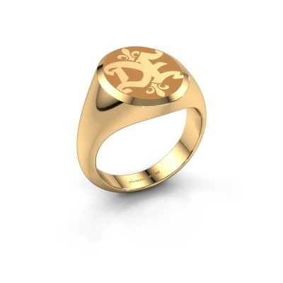 Monogram ring Xandro Emaille 375 goud gele emaille