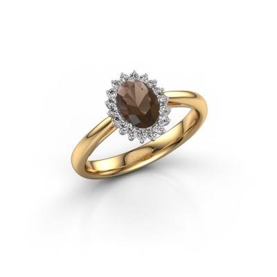 Engagement ring Tilly ovl 1 585 gold smokey quartz 7x5 mm