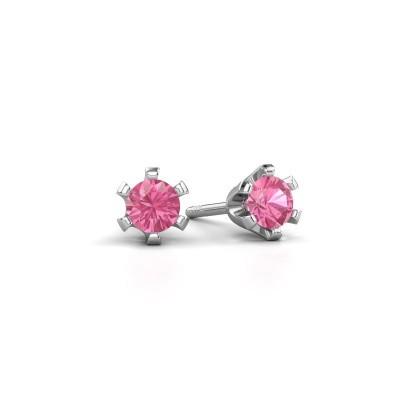 Stud earrings Shana 585 white gold pink sapphire 4 mm