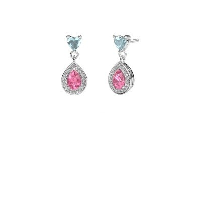 Picture of Drop earrings Susannah 950 platinum pink sapphire 6x4 mm