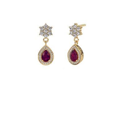 Drop earrings Era 375 gold rhodolite 6x4 mm