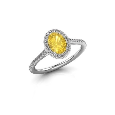 Engagement ring Seline 2 585 white gold yellow sapphire 7x5 mm