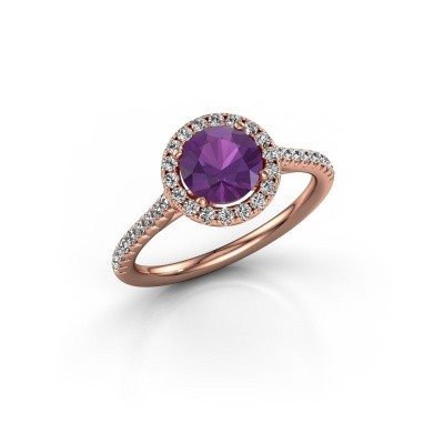 Picture of Engagement ring Seline rnd 2 375 rose gold amethyst 6.5 mm