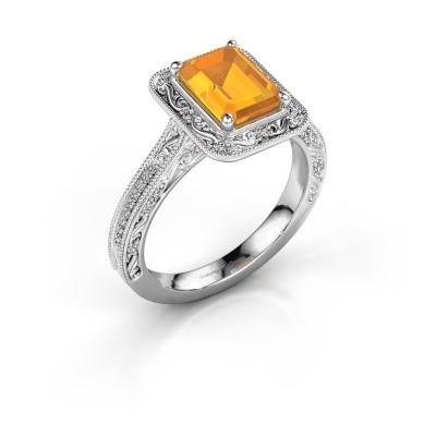 Verlovings ring Alice EME 925 zilver citrien 7x5 mm
